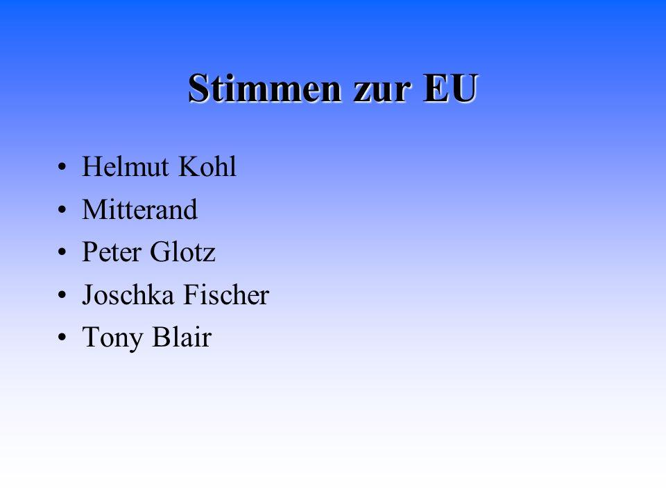 Stimmen zur EU Helmut Kohl Mitterand Peter Glotz Joschka Fischer Tony Blair