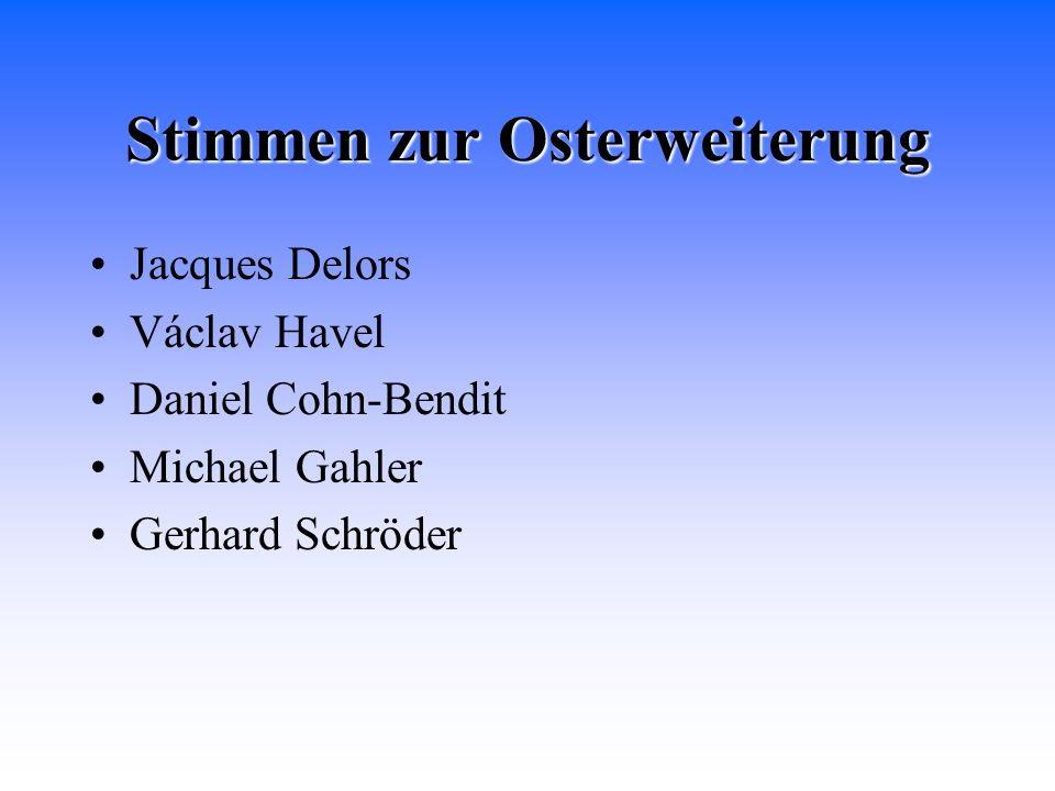 Stimmen zur Osterweiterung Jacques Delors Václav Havel Daniel Cohn-Bendit Michael Gahler Gerhard Schröder