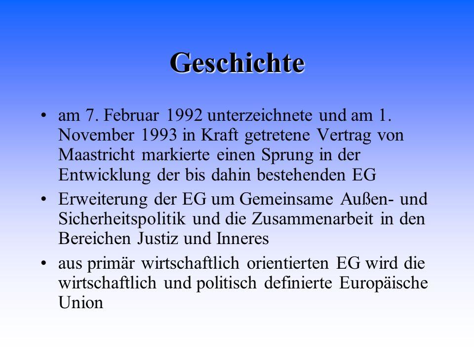 Geschichte am 7. Februar 1992 unterzeichnete und am 1. November 1993 in Kraft getretene Vertrag von Maastricht markierte einen Sprung in der Entwicklu