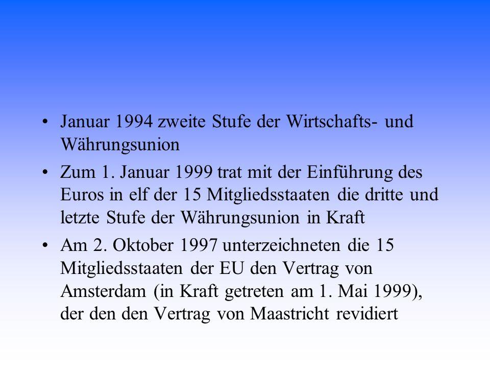 Januar 1994 zweite Stufe der Wirtschafts- und Währungsunion Zum 1. Januar 1999 trat mit der Einführung des Euros in elf der 15 Mitgliedsstaaten die dr