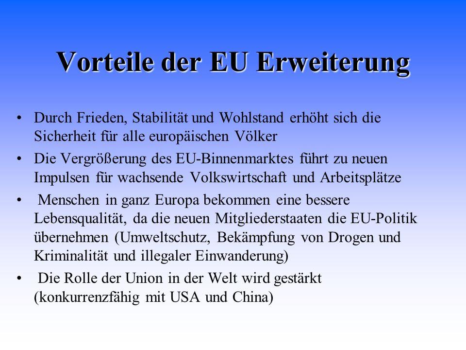 Vorteile der EU Erweiterung Durch Frieden, Stabilität und Wohlstand erhöht sich die Sicherheit für alle europäischen Völker Die Vergrößerung des EU-Bi