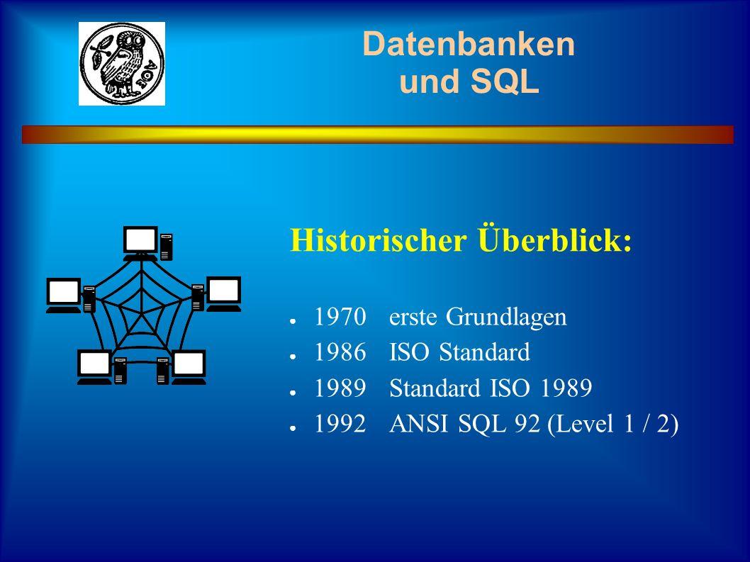 1970erste Grundlagen 1986ISO Standard 1989Standard ISO 1989 1992ANSI SQL 92 (Level 1 / 2) Historischer Überblick: