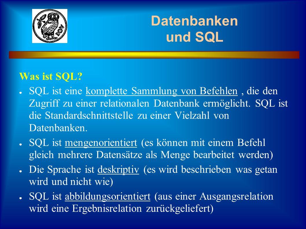 Datenbanken und SQL Verwendung von SQL mit dem Datenbankexplorer unter Delphi: Lade den Datenbankexplorer Erstelle einen neuen Alias für die Datei Tutanden in Deinem Home-Verzeichnis Öffne die Datei Kurs1.dbf Betrachte dir die Felder mit ihren Bezeichnungen Trage auf der rechten Seite auf der Registerkarte SQL den folgenden Befehl ein: SELECT * FROM kurs1.dbf Klicke auf das Blitzsymbol