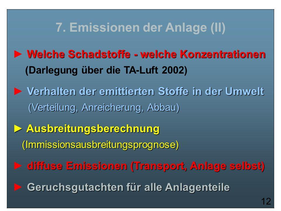 7. Emissionen der Anlage (II) Welche Schadstoffe - welche Konzentrationen (Darlegung über die TA-Luft 2002) Verhalten der emittierten Stoffe in der Um