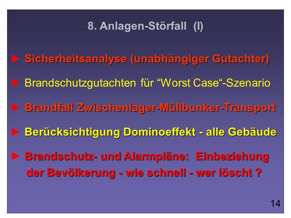 8. Anlagen-Störfall (I) Sicherheitsanalyse (unabhängiger Gutachter) Brandschutzgutachten für Worst Case-Szenario Brandfall Zwischenlager-Müllbunker-Tr