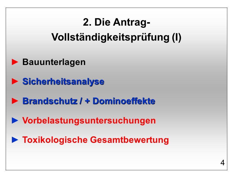 2. Die Antrag- Vollständigkeitsprüfung (I) Bauunterlagen Sicherheitsanalyse Brandschutz / + Dominoeffekte Vorbelastungsuntersuchungen Toxikologische G