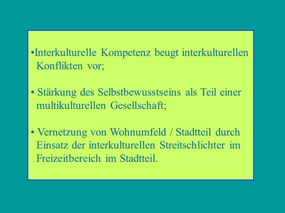 Interkulturelle Kompetenz beugt interkulturellen Konflikten vor; Stärkung des Selbstbewusstseins als Teil einer multikulturellen Gesellschaft; Vernetzung von Wohnumfeld / Stadtteil durch Einsatz der ínterkulturellen Streitschlichter im Freizeitbereich im Stadtteil.