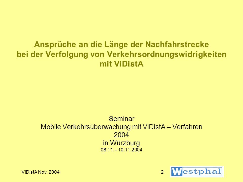 ViDistA Nov. 200422 Entwicklung der Meßgeschwindigkeit (6)