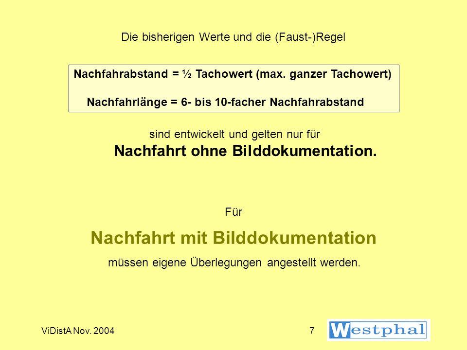 ViDistA Nov. 20046 Faustregel Nachfahrabstand = ½ Tachowert (max. ganzer Tachowert) Nachfahrlänge = 6- bis 10-facher Nachfahrabstand aber...