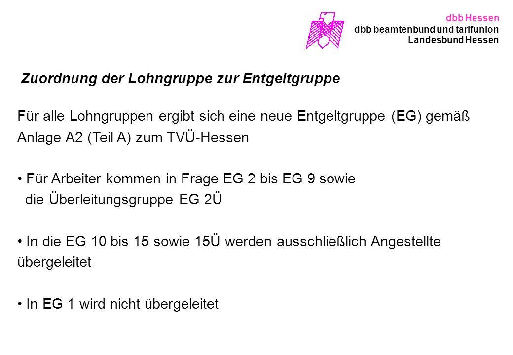 Zuordnung der Lohngruppe zur Entgeltgruppe Für alle Lohngruppen ergibt sich eine neue Entgeltgruppe (EG) gemäß Anlage A2 (Teil A) zum TVÜ-Hessen Für A