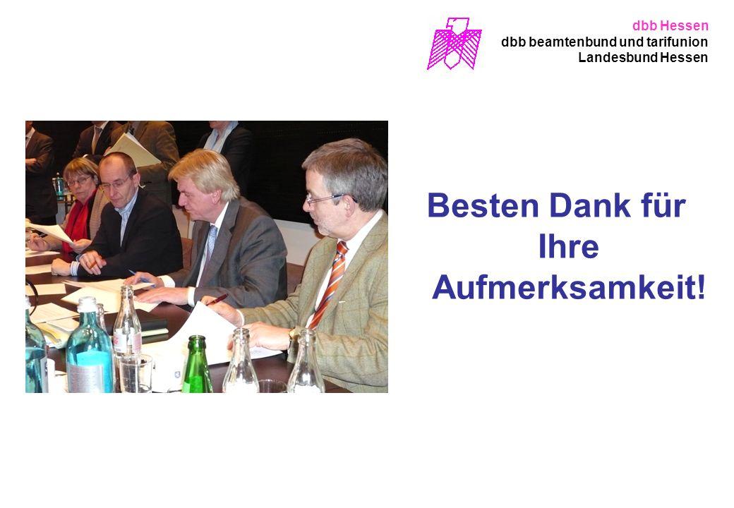 Besten Dank für Ihre Aufmerksamkeit! dbb Hessen dbb beamtenbund und tarifunion Landesbund Hessen