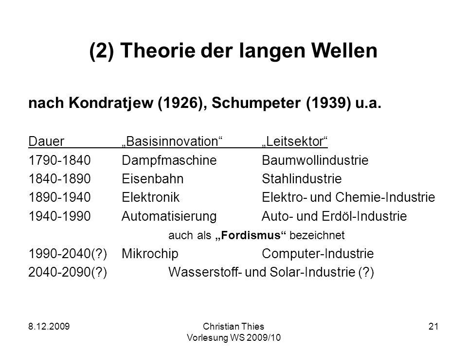 8.12.2009Christian Thies Vorlesung WS 2009/10 21 (2) Theorie der langen Wellen nach Kondratjew (1926), Schumpeter (1939) u.a. DauerBasisinnovationLeit