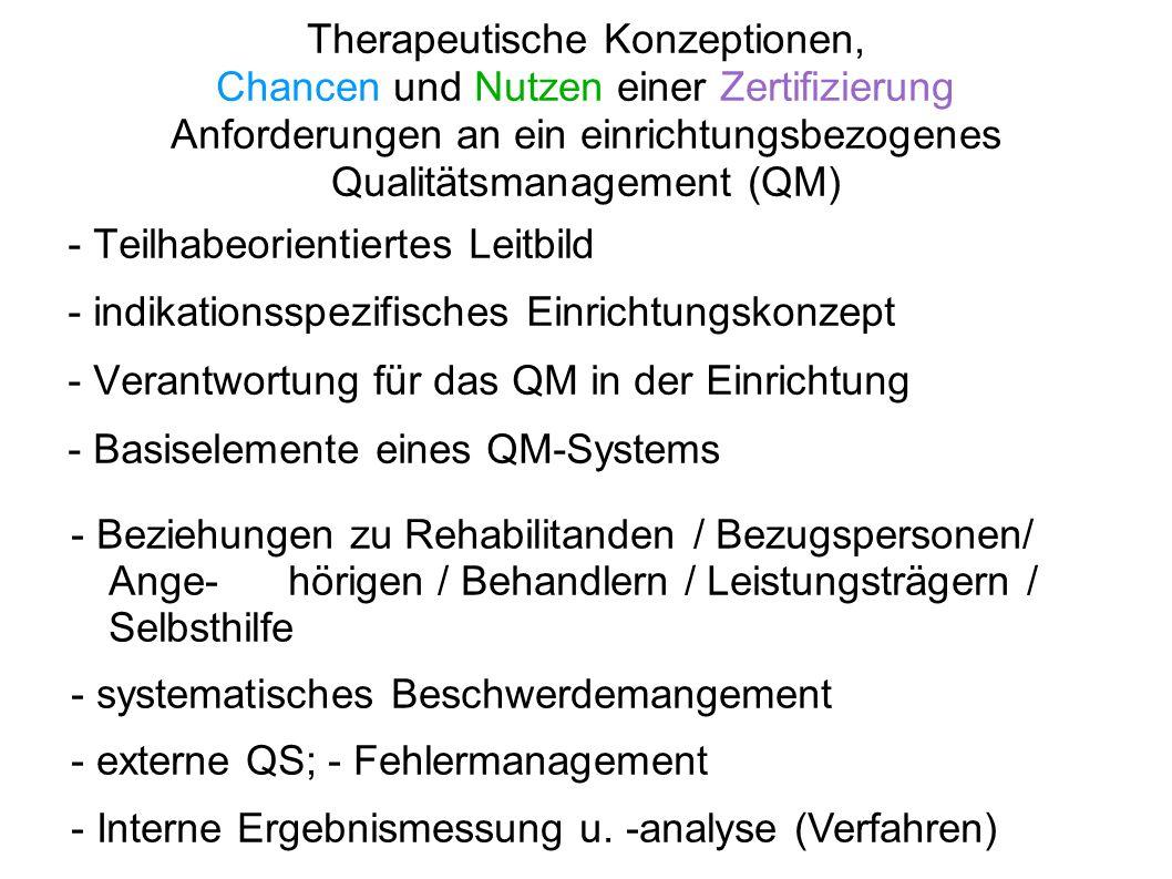 Therapeutische Konzeptionen, Chancen und Nutzen einer Zertifizierung Anforderungen an ein einrichtungsbezogenes Qualitätsmanagement (QM) - Teilhabeori