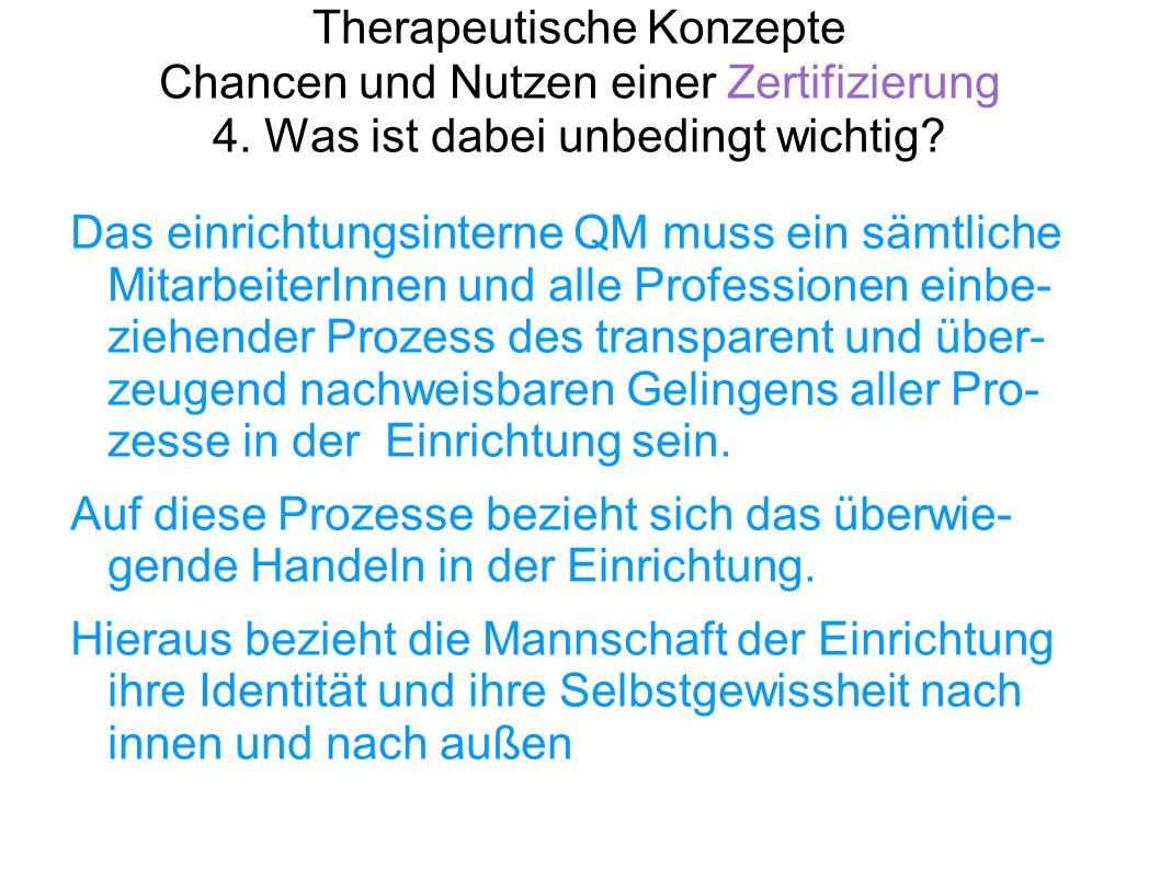 Therapeutische Konzepte Chancen und Nutzen einer Zertifizierung 4. Was ist dabei unbedingt wichtig? Das einrichtungsinterne QM muss ein sämtliche Mita