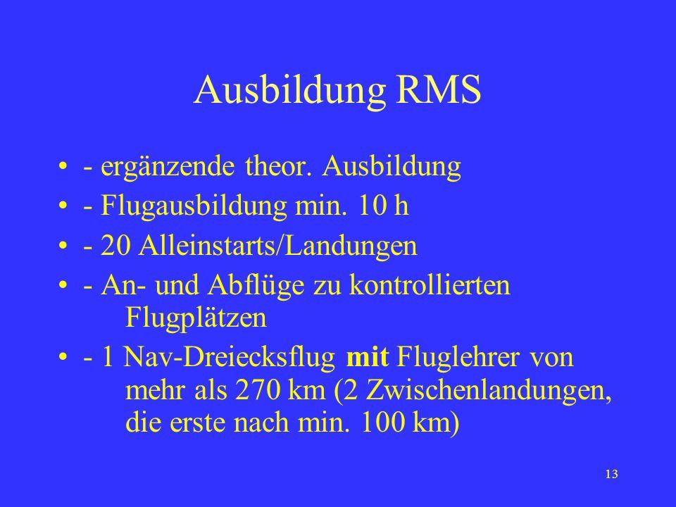 12 Klassenberechtigung RMS Voraussetzungen: - Segelflugzeugführerlizenz (Eine ausschließliche Ausbildung auf RMS ohne Segelfluglizenz ist künftig nich