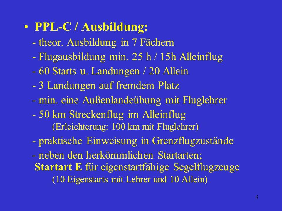 5 PPL – C Voraussetzungen: - Mindestalter: Beginn 14 Jahre Lizenz 16 Jahre - Tauglichkeitszeugnis