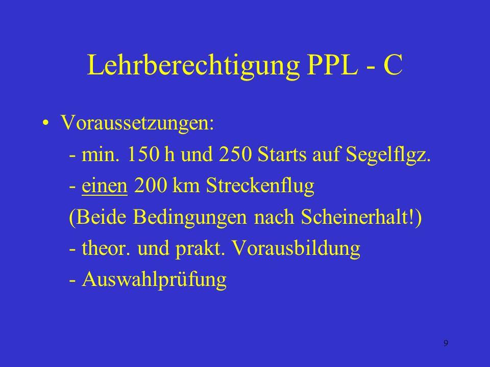 8 PPL-C Gültigkeit / Verlängerung: Die Lizenz ist unbefristet gültig. Flugberechtigung jedoch nur, wenn innerhalb der letzten 24 Monate folgender Nach
