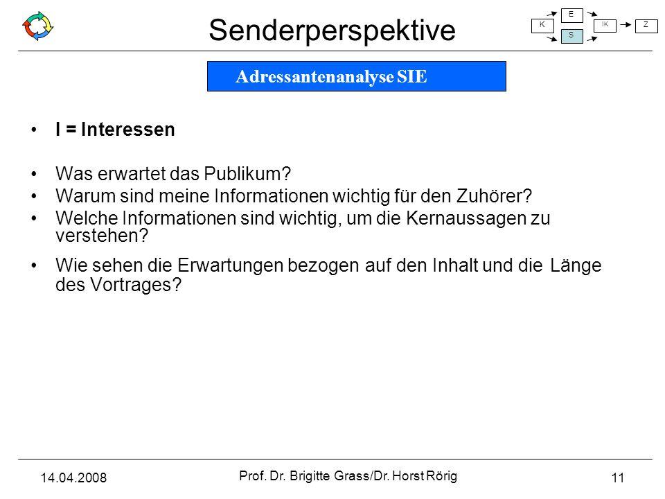 Senderperspektive K E S IK Z 14.04.2008 Prof. Dr. Brigitte Grass/Dr. Horst Rörig 11 I = Interessen Was erwartet das Publikum? Warum sind meine Informa