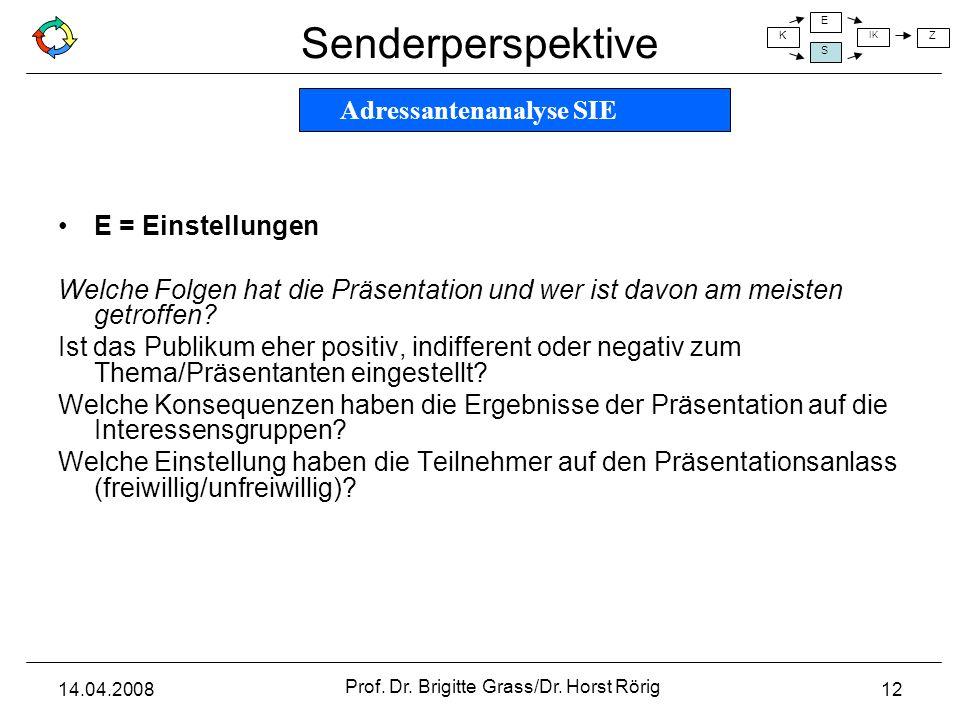 Senderperspektive K E S IK Z 14.04.2008 Prof. Dr. Brigitte Grass/Dr. Horst Rörig 12 E = Einstellungen Welche Folgen hat die Präsentation und wer ist d