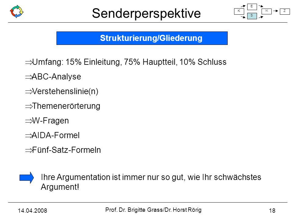 Senderperspektive K E S IK Z 14.04.2008 Prof. Dr. Brigitte Grass/Dr. Horst Rörig 18 Umfang: 15% Einleitung, 75% Hauptteil, 10% Schluss ABC-Analyse Ver