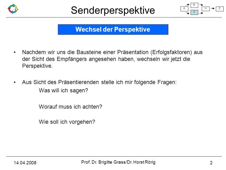 Senderperspektive K E S IK Z 14.04.2008 Prof. Dr. Brigitte Grass/Dr. Horst Rörig 2 Nachdem wir uns die Bausteine einer Präsentation (Erfolgsfaktoren)