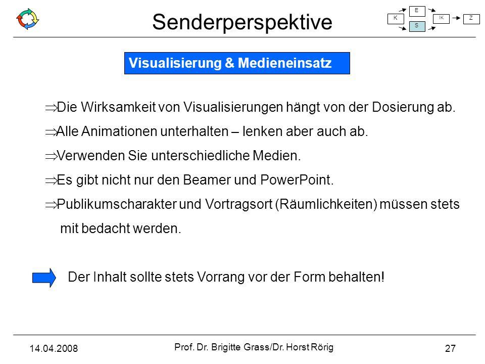 Senderperspektive K E S IK Z 14.04.2008 Prof. Dr. Brigitte Grass/Dr. Horst Rörig 27 Visualisierung & Medieneinsatz Die Wirksamkeit von Visualisierunge