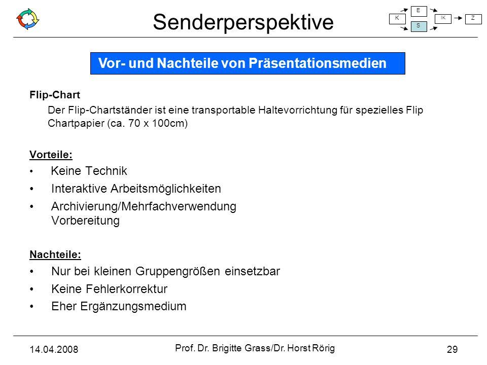 Senderperspektive K E S IK Z 14.04.2008 Prof. Dr. Brigitte Grass/Dr. Horst Rörig 29 Flip-Chart Der Flip-Chartständer ist eine transportable Haltevorri