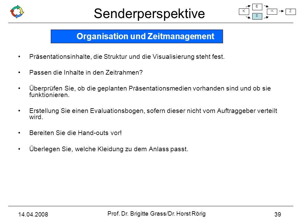 Senderperspektive K E S IK Z 14.04.2008 Prof. Dr. Brigitte Grass/Dr. Horst Rörig 39 Präsentationsinhalte, die Struktur und die Visualisierung steht fe