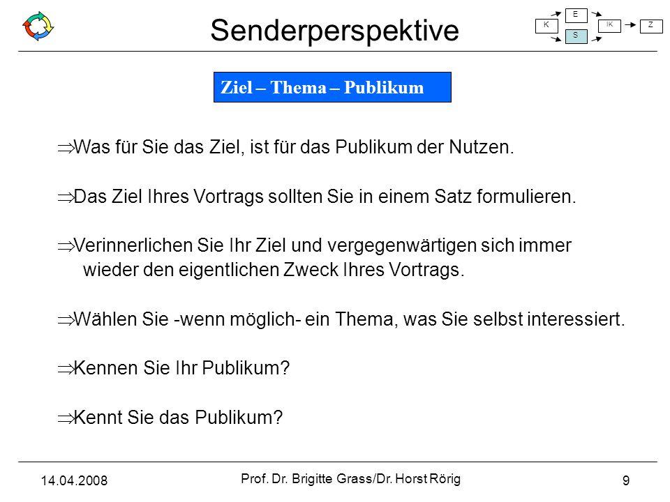 Senderperspektive K E S IK Z 14.04.2008 Prof. Dr. Brigitte Grass/Dr. Horst Rörig 9 Was für Sie das Ziel, ist für das Publikum der Nutzen. Das Ziel Ihr
