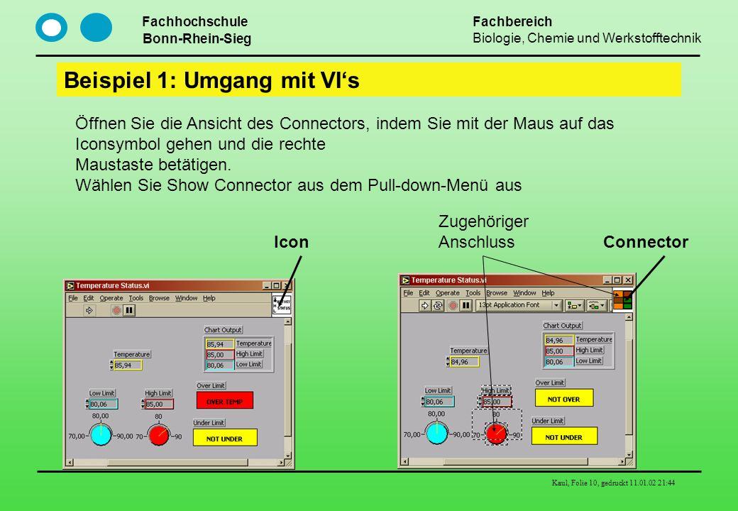 Fachhochschule Bonn-Rhein-Sieg Fachbereich Biologie, Chemie und Werkstofftechnik Kaul, Folie 10, gedruckt 11.01.02 21:44 Beispiel 1: Umgang mit VIs Öf