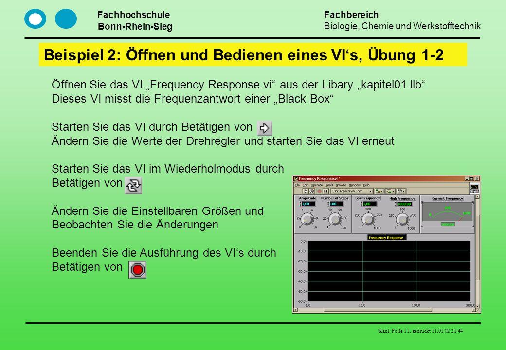 Fachhochschule Bonn-Rhein-Sieg Fachbereich Biologie, Chemie und Werkstofftechnik Kaul, Folie 11, gedruckt 11.01.02 21:44 Beispiel 2: Öffnen und Bedien