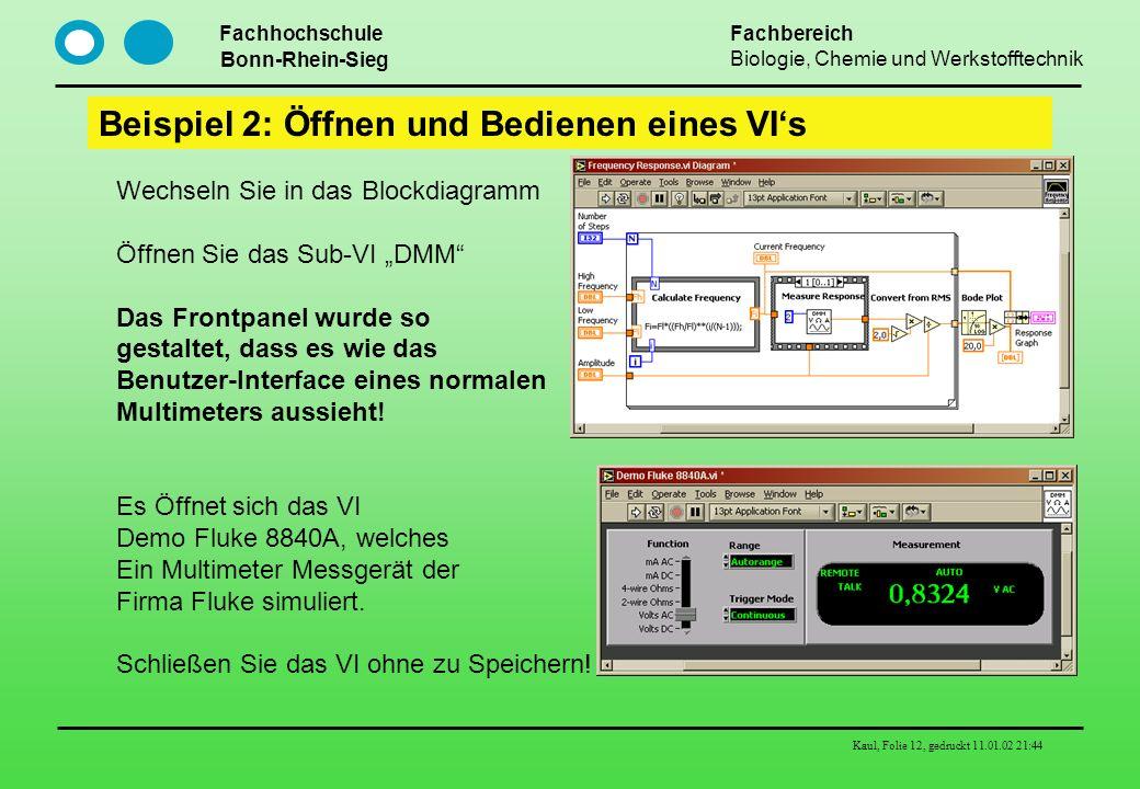 Fachhochschule Bonn-Rhein-Sieg Fachbereich Biologie, Chemie und Werkstofftechnik Kaul, Folie 12, gedruckt 11.01.02 21:44 Beispiel 2: Öffnen und Bedien
