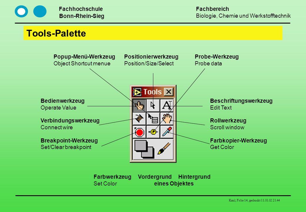 Fachhochschule Bonn-Rhein-Sieg Fachbereich Biologie, Chemie und Werkstofftechnik Kaul, Folie 14, gedruckt 11.01.02 21:44 Tools-Palette Bedienwerkzeug