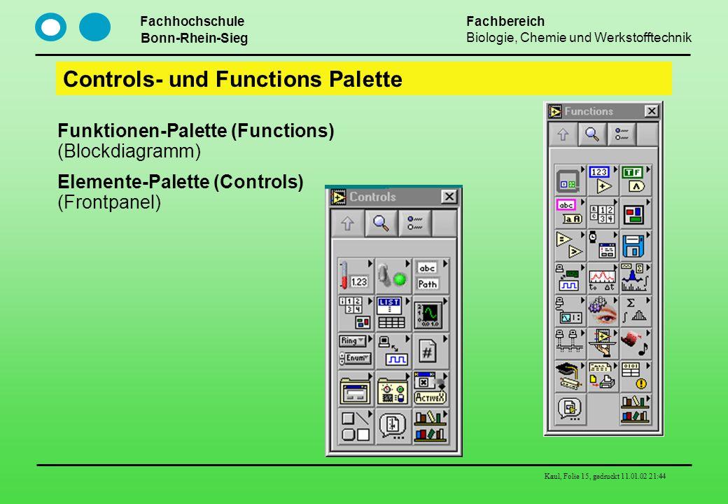 Fachhochschule Bonn-Rhein-Sieg Fachbereich Biologie, Chemie und Werkstofftechnik Kaul, Folie 15, gedruckt 11.01.02 21:44 Controls- und Functions Palet