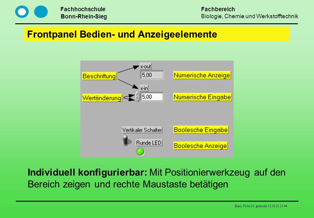 Fachhochschule Bonn-Rhein-Sieg Fachbereich Biologie, Chemie und Werkstofftechnik Kaul, Folie 20, gedruckt 11.01.02 21:44 Frontpanel Bedien- und Anzeig