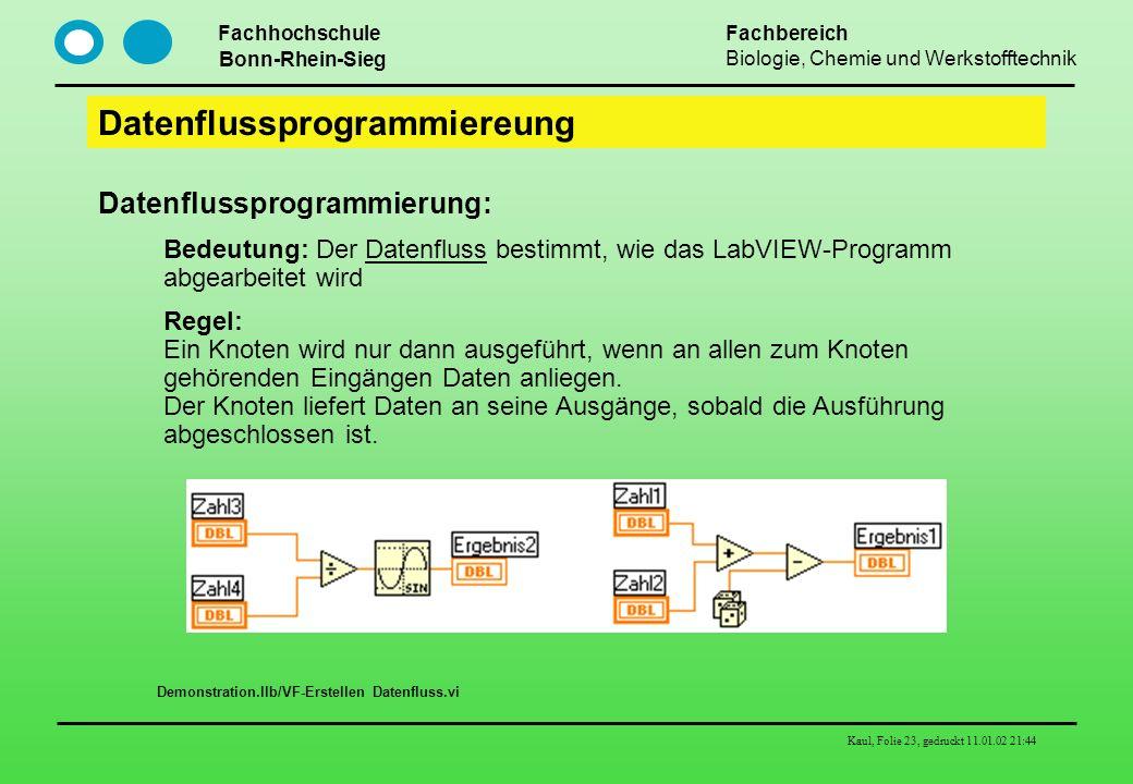 Fachhochschule Bonn-Rhein-Sieg Fachbereich Biologie, Chemie und Werkstofftechnik Kaul, Folie 23, gedruckt 11.01.02 21:44 Datenflussprogrammiereung Dat