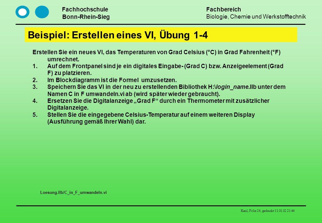 Fachhochschule Bonn-Rhein-Sieg Fachbereich Biologie, Chemie und Werkstofftechnik Kaul, Folie 24, gedruckt 11.01.02 21:44 Beispiel: Erstellen eines VI,