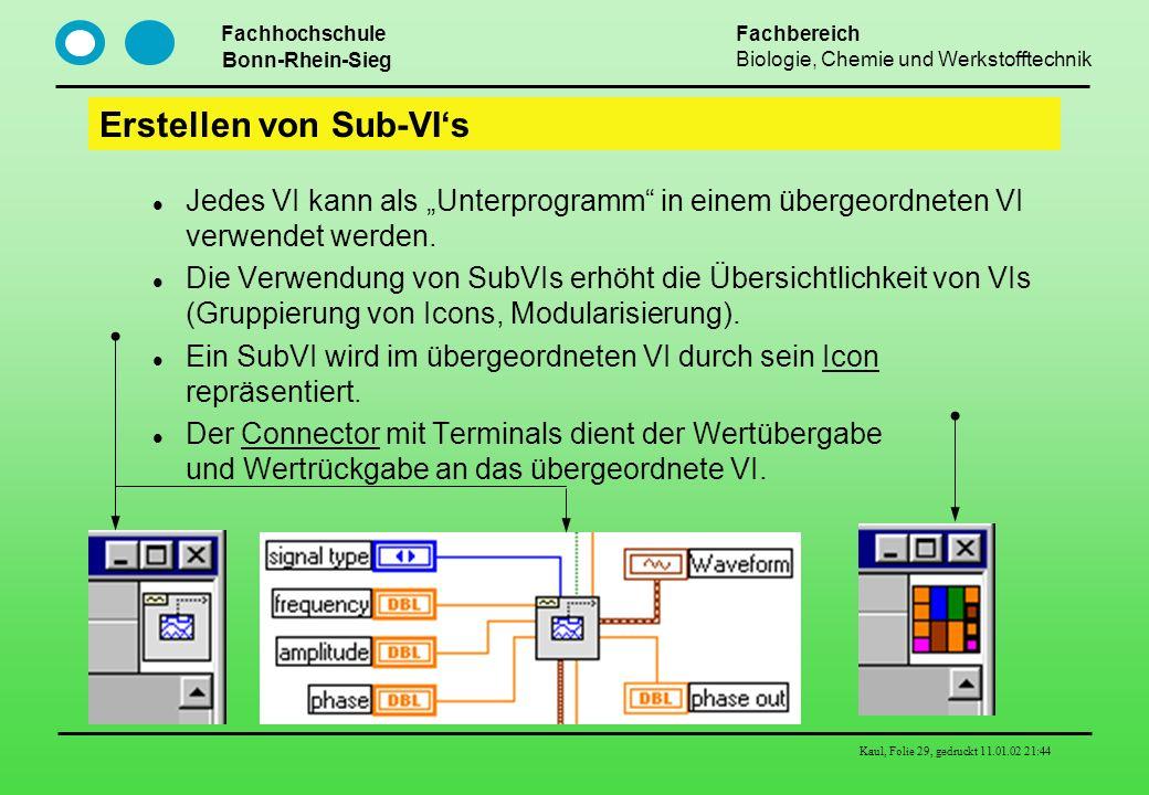 Fachhochschule Bonn-Rhein-Sieg Fachbereich Biologie, Chemie und Werkstofftechnik Kaul, Folie 29, gedruckt 11.01.02 21:44 Erstellen von Sub-VIs Jedes V