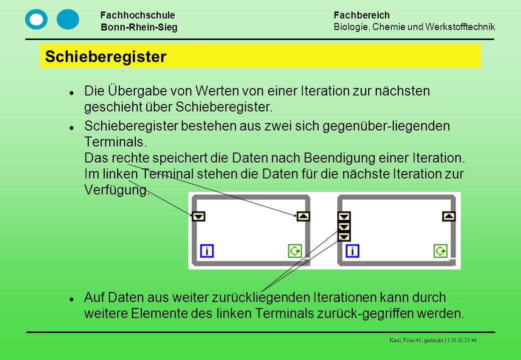 Fachhochschule Bonn-Rhein-Sieg Fachbereich Biologie, Chemie und Werkstofftechnik Kaul, Folie 40, gedruckt 11.01.02 21:44 Schieberegister Die Übergabe