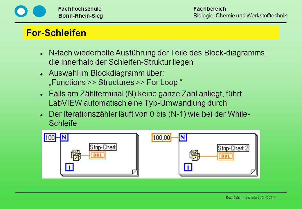 Fachhochschule Bonn-Rhein-Sieg Fachbereich Biologie, Chemie und Werkstofftechnik Kaul, Folie 44, gedruckt 11.01.02 21:44 For-Schleifen N-fach wiederho
