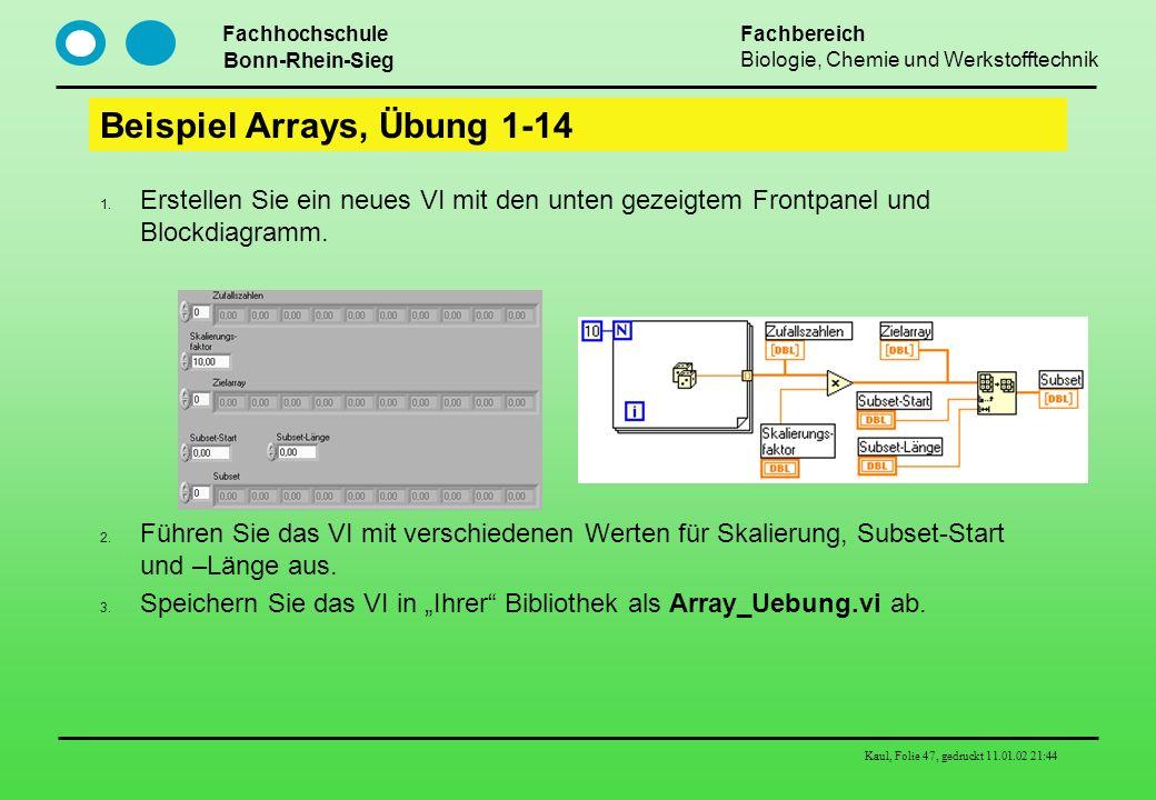 Fachhochschule Bonn-Rhein-Sieg Fachbereich Biologie, Chemie und Werkstofftechnik Kaul, Folie 47, gedruckt 11.01.02 21:44 Beispiel Arrays, Übung 1-14 E