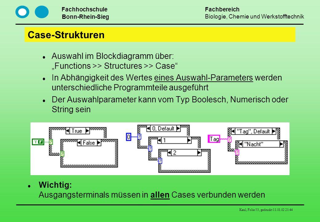 Fachhochschule Bonn-Rhein-Sieg Fachbereich Biologie, Chemie und Werkstofftechnik Kaul, Folie 53, gedruckt 11.01.02 21:44 Case-Strukturen Auswahl im Bl