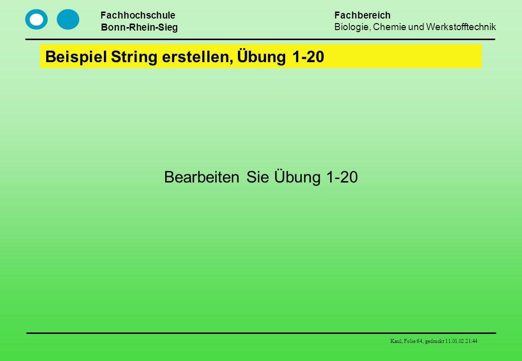 Fachhochschule Bonn-Rhein-Sieg Fachbereich Biologie, Chemie und Werkstofftechnik Kaul, Folie 64, gedruckt 11.01.02 21:44 Beispiel String erstellen, Üb