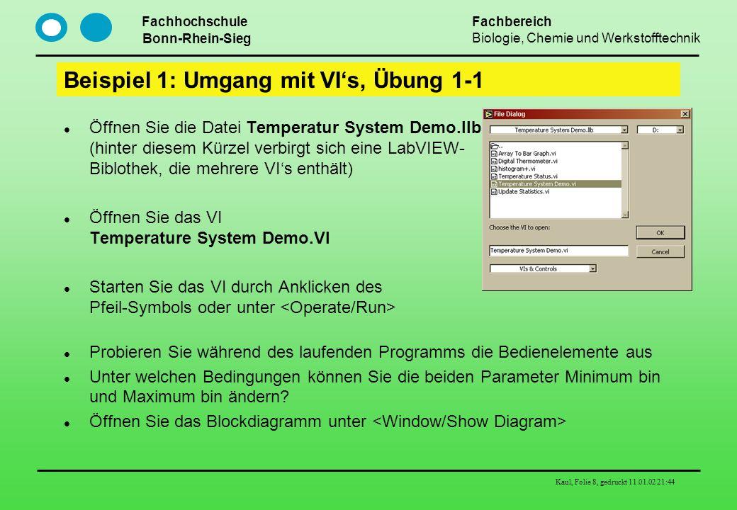 Fachhochschule Bonn-Rhein-Sieg Fachbereich Biologie, Chemie und Werkstofftechnik Kaul, Folie 8, gedruckt 11.01.02 21:44 Beispiel 1: Umgang mit VIs, Üb