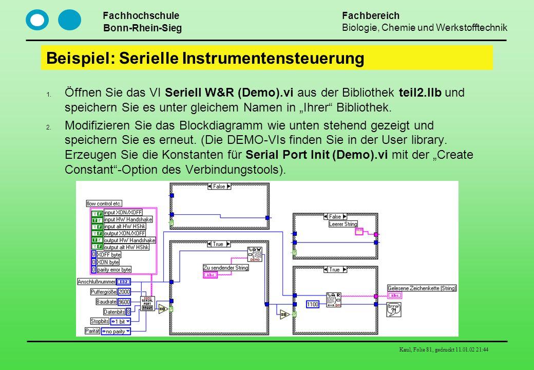 Fachhochschule Bonn-Rhein-Sieg Fachbereich Biologie, Chemie und Werkstofftechnik Kaul, Folie 81, gedruckt 11.01.02 21:44 Beispiel: Serielle Instrument