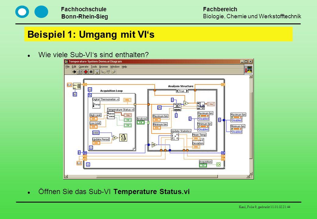 Fachhochschule Bonn-Rhein-Sieg Fachbereich Biologie, Chemie und Werkstofftechnik Kaul, Folie 9, gedruckt 11.01.02 21:44 Beispiel 1: Umgang mit VIs Wie