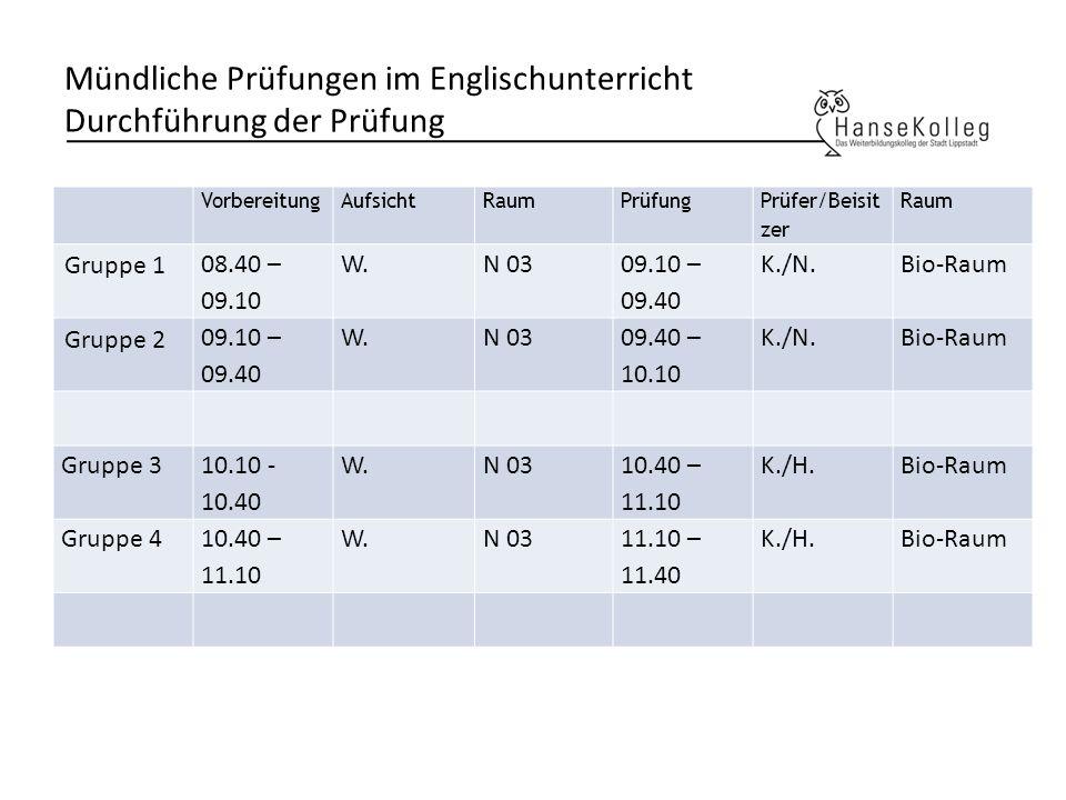 Mündliche Prüfungen im Englischunterricht Durchführung der Prüfung VorbereitungAufsichtRaumPrüfung Prüfer/Beisit zer Raum Gruppe 1 08.40 – 09.10 W.N 0