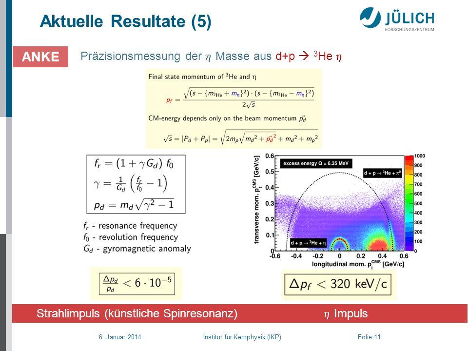 6. Januar 2014 Institut für Kernphysik (IKP) Folie 11 Aktuelle Resultate (5) Präzisionsmessung der Masse aus d+p 3 He ANKE Strahlimpuls (künstliche Sp
