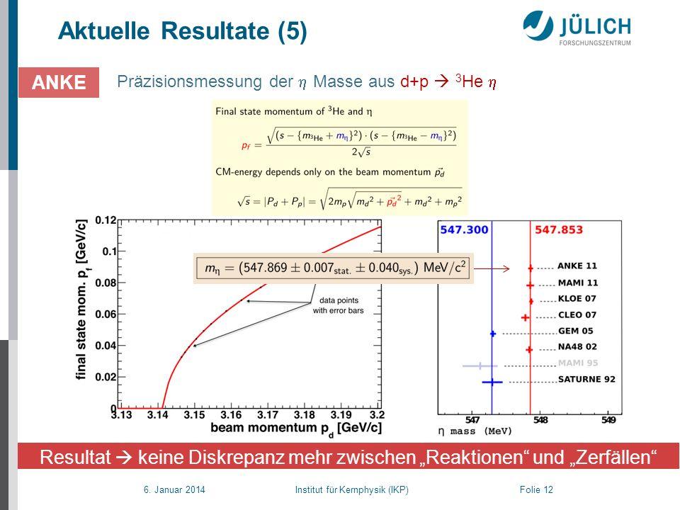 6. Januar 2014 Institut für Kernphysik (IKP) Folie 12 Aktuelle Resultate (5) Präzisionsmessung der Masse aus d+p 3 He ANKE Resultat keine Diskrepanz m