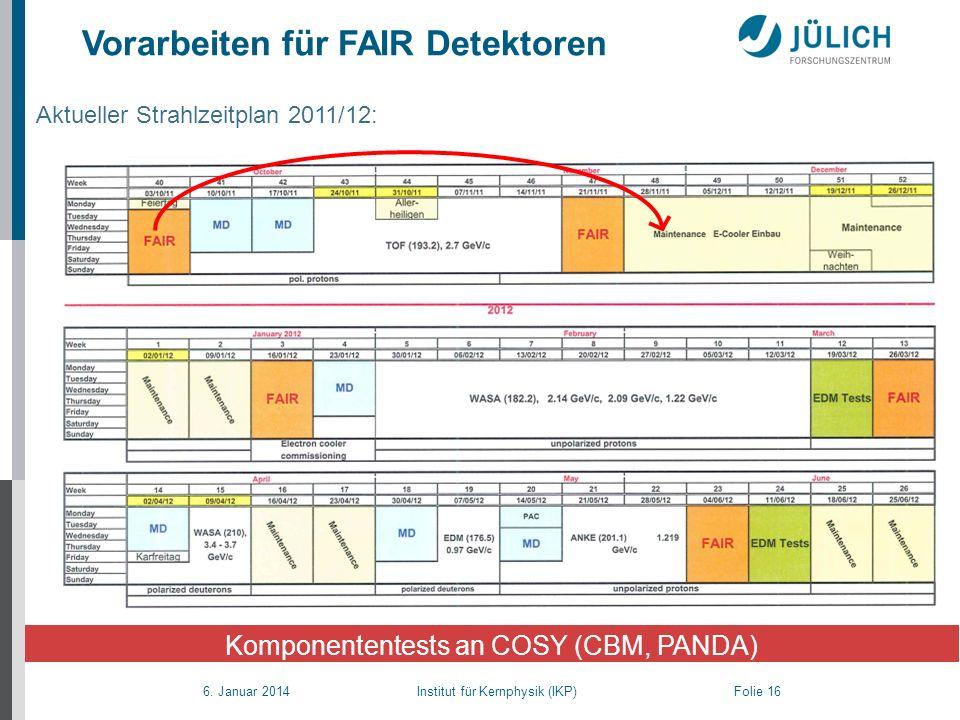 6. Januar 2014 Institut für Kernphysik (IKP) Folie 16 Aktueller Strahlzeitplan 2011/12: Komponententests an COSY (CBM, PANDA) Vorarbeiten für FAIR Det